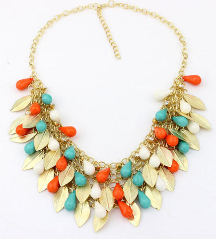 Star Jewelry Fashion Bohemia 5 Colors Gold Plated Leaf Beads Statement Necklace For Woman 2015 New Pendants Choker Necklaces 35 - onlinejewelleryshopaus