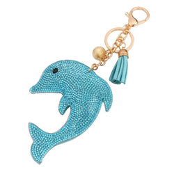 Charm Fashion Key Chain for Keys Dolphin Pendant Leather Rhinestone Key Cover Ring Finder K00371 - onlinejewelleryshopaus