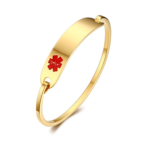 Woman's Jewelry Simple Elegant Stainless Steel Medical Alert ID Tag Bangle Bracelets -Red-Free Engraving - onlinejewelleryshopaus