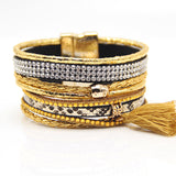 1 Piece free shipping Fashion Multilayer Leather Bracelet French Beach Bracelet with Tassels Chirstamas Gift - onlinejewelleryshopaus