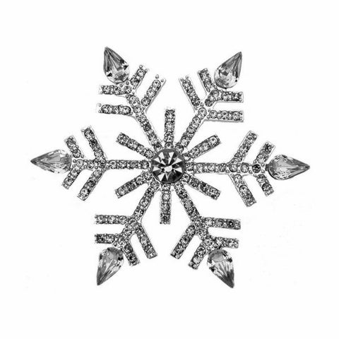 "2.68"" Clear Rhinestone Crystal Large Snowflake Brooch Christmas Pin Gifts - onlinejewelleryshopaus"
