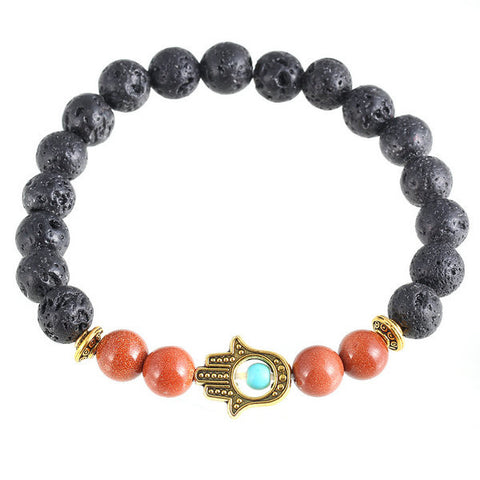 2016 New Turquoise Lava Onyx Natural Stone Black Brown Bead Bracelet Hamsa Hand Charm Yoga Mala Bracelet For Women statement Hot - onlinejewelleryshopaus