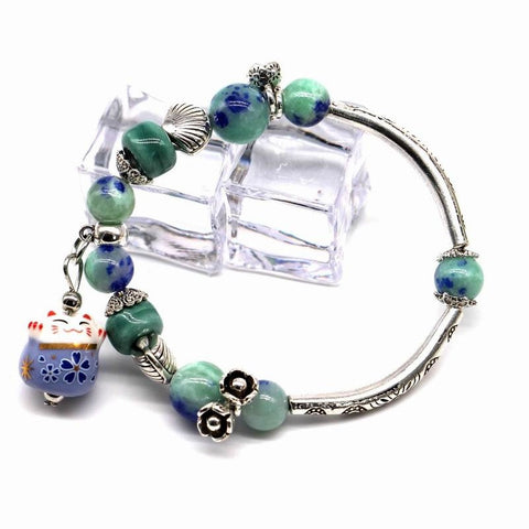 2016 New Lucky Cat Bracelet For Women And Girls Natural Stone Beaded Jewelry Pink and Blue Colors Cute Gift - onlinejewelleryshopaus
