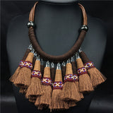 big chunky necklaces 2016 leather cord choker collar indian necklace boho collier ethnique indian tribal jewelry necklace - onlinejewelleryshopaus