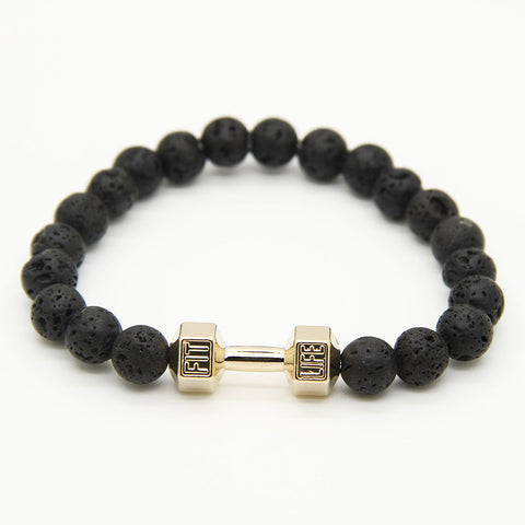 Ailatu Powerful Mens Gift Alloy Metal Barbell with Lava Rock Stone Beads Fitness Fit Life Dumbbell Bracelets - onlinejewelleryshopaus