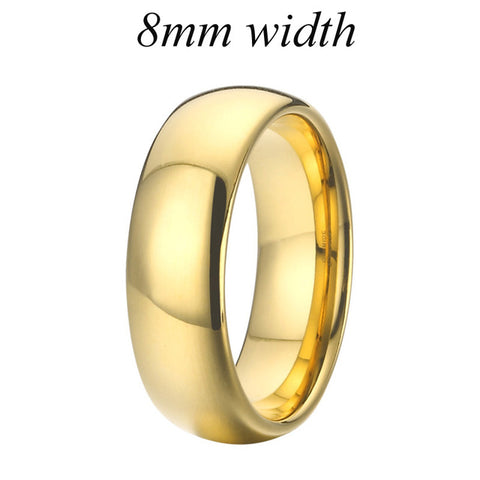 Anniversary Alliance Pure Tungsten carbide Rings 4/6/8/10mm Gold Color Mens Fashion Jewelry Wedding Band Couple Rings for women