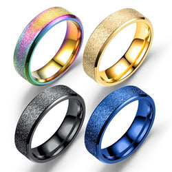 Size 7-12 Golden Black Blue Color Scrub Ring For Men High Quality Stainless Steel Anillo Male Party Fashion Accessory