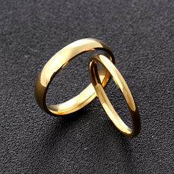 New Arrivals Stainless steel Gold Smooth Romantic Simplicity Couple Rings Women Men Wedding Party Unique Fine Cute Jewelry