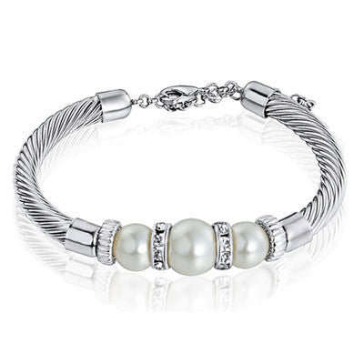 Three Color Good Quality Brand Fashion imitation Pearl charm Bracelets Bangles for women - onlinejewelleryshopaus