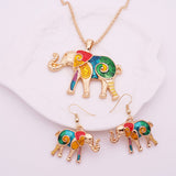 Colorful Enamel Elephant Jewelry Sets For Girls Gold Plated Animal Elephant Necklace Earring Set Unique Ethnic Jewelry - onlinejewelleryshopaus