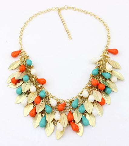 2015 New Women Statement Necklace Link Chain Necklace Bohemia Choker Necklace Bead Leaves pendants Jewelry Trends - onlinejewelleryshopaus