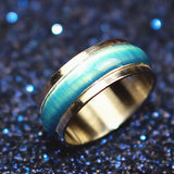 New Blue Cat-eye Opals Enamel Rotatable Stainless Steel Finger Ring For Punk Women and Rock Men Fashion Jewelry nj57 - onlinejewelleryshopaus