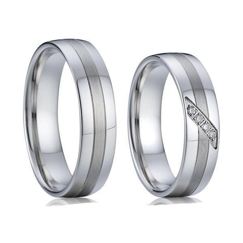 1 Pair 2016 new classic private design white gold style western titanium couple engagement wedding rings sets for men and women - onlinejewelleryshopaus