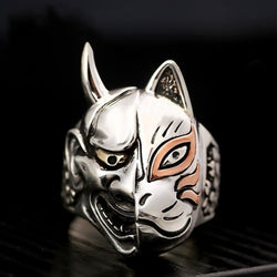 2019 New Fashion Vintage Pop Japanese Prajna Mask Hip Hop Rock Punk Metal Personality Ring for Men Women Asymmetry Rings Jewelry