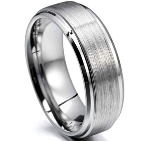 Men's 8mm Tungsten Ring Band Silver Tone in Comfort Fit Wedding Promise wholesale