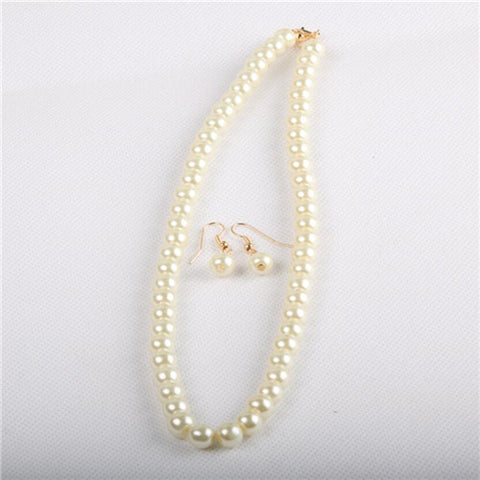2015 fashion Classic Imitation Pearl Gold Plated Clear Crystal Top Elegant Party Gift Fashion Costume Pearl Jewelry Sets - onlinejewelleryshopaus