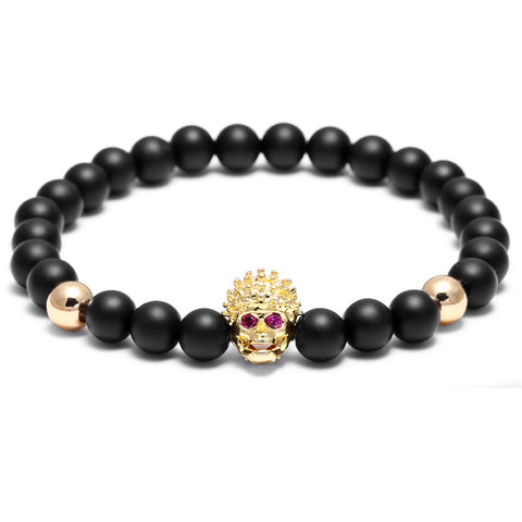 1PC Brand Fashion Bracelet Men 6mm Agate Matte Natural Stone Beads Spartan Warrior Head Bracelets Women pulseras Mens Bracelets - onlinejewelleryshopaus