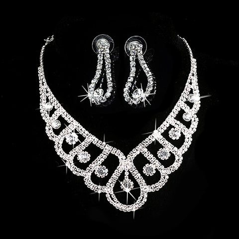 U119 Free Shipping 19 Styles Luxury Wedding Bridal Crystal Rhinestone Necklace Earring Party Prom Jewelry Set - onlinejewelleryshopaus