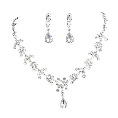 Romantic Wedding Jewelry Accessories Rhinestone Panicle Crown Necklace and Earrings Fashion Bridal Jewelry Set - onlinejewelleryshopaus
