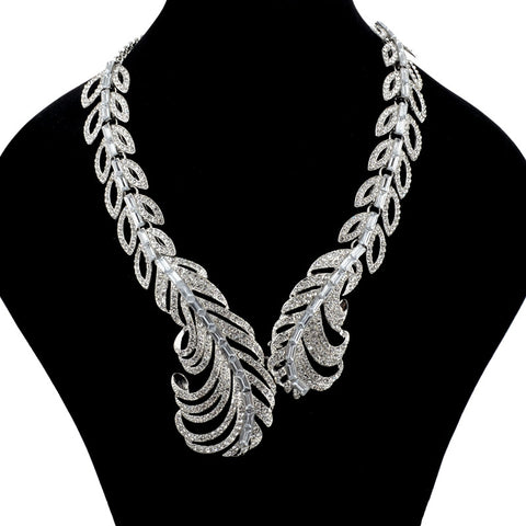 Europe Gold imitation Diamond chunky necklace women crystal feather choker necklace jewelry SNE150599 - onlinejewelleryshopaus