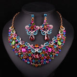 Fashion Gold Plated Necklace Earring Indian Bridal Jewelry Sets For Brides Wedding Party Prom Dresses Decoration Gift For Women - onlinejewelleryshopaus