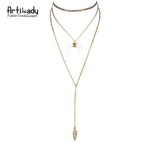 Arti layer chain choker necklace simulated ivory crescent moon horn design necklaces for women jewelry party - onlinejewelleryshopaus