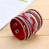 Fashion New  Leather Bracelets with Wrap  Bracelet for women Clasp Charm Bracelets Bangles - onlinejewelleryshopaus