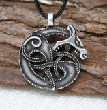 1pcs Viking retro Wolf Fenrir norse mythology Odin and Fenris Pendant necklace snake  Amulet handmade jewelry - onlinejewelleryshopaus