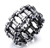 Fashion Simple Men's Punk Stainless Steel Tire Ring Unisex Gothic Domineering Chain Rings for Women