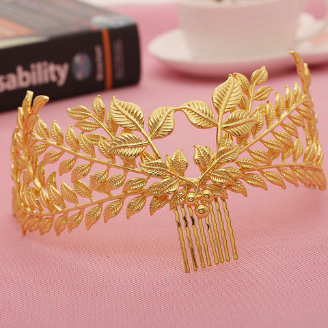 Baroque Crown 2016 New Arrival Fashion Gold Leaves Bridal Wedding Tiara Crown Party Wedding Hair Jewelry For Women Accessories - onlinejewelleryshopaus