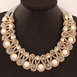 9 Colors 2016 New Women Collier Crystal Statement Necklaces Beads Colar Imitation Pearls Choker Necklace For Women Jewelry - onlinejewelleryshopaus