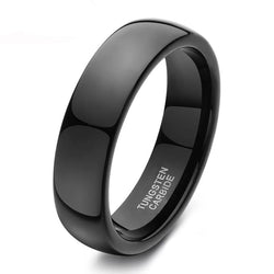 Black Ring Men High Polished Tungsten Carbide Wedding Band Engagement Ring