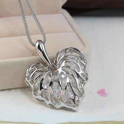 Newly Fashion Women Hollow Gold Silver Heart Crystal Rhinestone Pendant Long Chain Necklace Sweater Necklace Free ping - onlinejewelleryshopaus