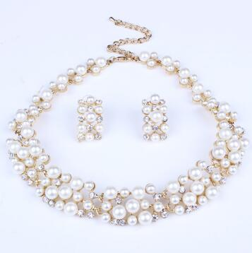 Fashion Pearl Jewelry Sets For Women African Beads Jewelry Set Gold Wedding Crystal Bridal Dubai Necklace Jewelery Costume