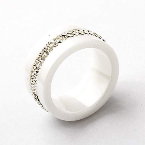 High Quality Black And White Simple Style Comly Crystal Ceramic Rings for Women - onlinejewelleryshopaus