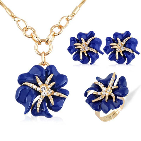 European and American fashion 3p Golden Big Rose Rhinestone Jewelry Sets Enamel Fine jewellery Set for women charm Accessories - onlinejewelleryshopaus