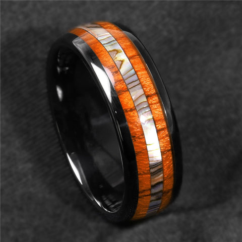 FDLK  8mm Black Stainless Steel Ring Koa Wood Abalone Wedding Band Men's Jewelry