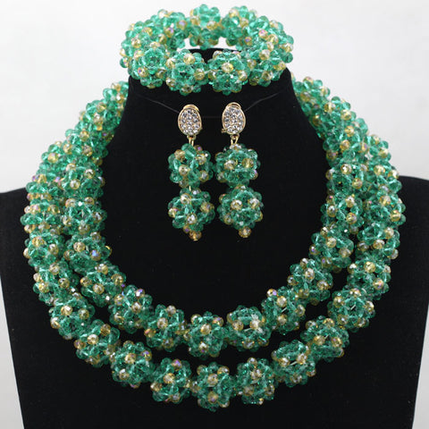 Wonderful Teal &Gold Crystal Costume Balls Jewellery Set Women African Bridal Necklace Set 2016 Free Shipping WD263 - onlinejewelleryshopaus