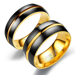 Trendy Tungsten Steel  Electroplate Black Gold 8mm6mm Lovers Ring For Men Women Wedding Engagement Titanium Exquisite Jewelry