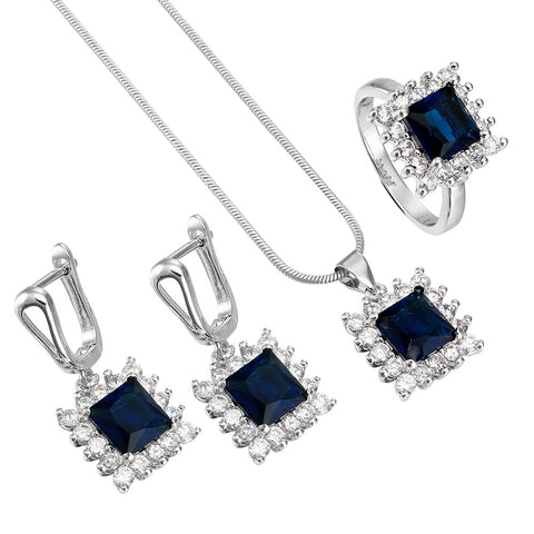 Luxury Square Jewelry Sets Silver white blue zircon top quality Engagement Rings Necklace Earring silver bridal jewelry sets - onlinejewelleryshopaus
