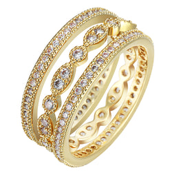 3pcs Unique Micro paved white Zircon   Gold Plated Finger Ring Sets for Women Luxury Cute Wedding Thin Elegant Fashion Jewelry - onlinejewelleryshopaus