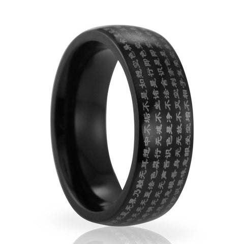 Religious Buddhist Jewelry of Chinese Wind Titanium Steel Heart Sutra  Ring