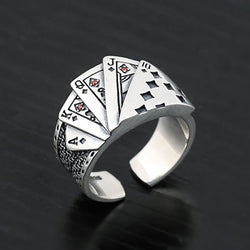 Fashion Vintage Playing Card Ring Men Women Hiphop Rock Punk Open Ring God Of Gambling Creative Rings Magician Ring Jewelry Gift