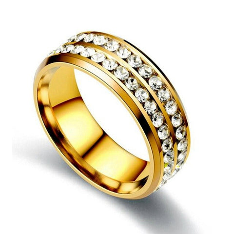 Ajojewel Size 5.5-12.5 Classic Stainless Steel Double Crystal Rings For Men Gold Black Silver High Quality Metal Rings