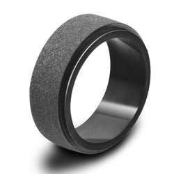 EKUSTYEE Matte Black Rings Men Stainless Steel Big Biker Ring for Women Bulgaria Jewelry Vintage Tungsten Ring