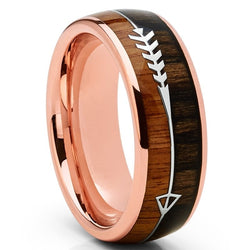 Men 8MM Tungsten Carbide Rose Goldtone Arrow Wedding Band Hunting Ring Koa Wood Inlay rings