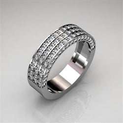 Modyle 2019 New Design Luxury Silver Color Three-layer CZ Stone Wedding Ring for Woman