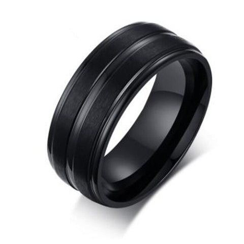 Fashion Men's Sand Face Jewelry 8MM Ring Stainless Steel Jewelry Tungsten Steel Ring Men's Fashion Party Metal Ring Groove