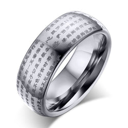 8mm Wide Tungsten Carbide Mens Rings Silver Color Unique Buddhism Prayer Jewelry