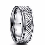 Luxury 6mm High Polished Colorful Shell Men Tungsten Steel Ring Crystal Rose Gold Men Love Wedding Stainless Ring